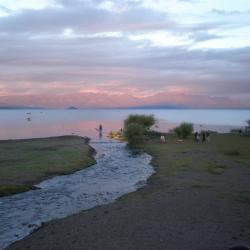 Coucher de soleil sur le lac Villarrica